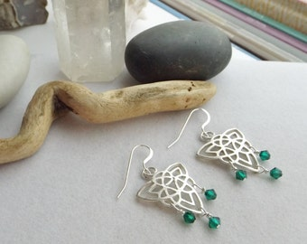 Silver Celtic Knot Boho, Irish, Drop, Dangle, Chandelier Earrings with Green Swarovski Crystals for St. Patrick's Day, Spring, Gift for Her