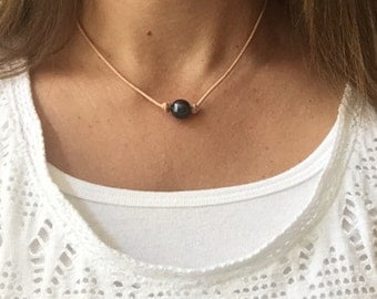 Black Pearl Leather Necklace; Choose Single or Triple Pearl, Beautiful Freshwater Pearls on a Genuine Leather Cording