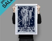 "ON SALE Popular Astronomy ""Astronomia Popular""  Print Poster Blue Vintage Style"