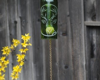Wine Bottle Windchime - Nature Repurposed Garden Cabin Fathers Day Glass House Warming Etching B-G