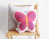 Stuffed toy, pink soft pillow, fuchsia butterfly, soft toy, Decorative cushion, Children room deco, baby deco, baby room, nursery room toy