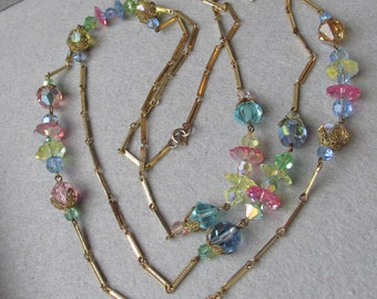 "Spectacular 56"" Long 1960's MOD Multi-Color Swarovski Crystal Bead & Chain Necklace"