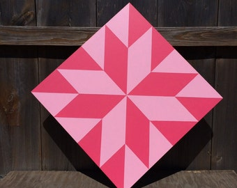 Hand painted rustic barn quilt. 2'x2', LeMoyne star pattern. Pink on pink theme. Indoor/outdoor weather/UV resistant.