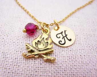 Fire Charm Necklace - Gold Initial Necklace - Birthstone Necklace - Initial Disc Necklace - Personalized Necklace - Camping Charm