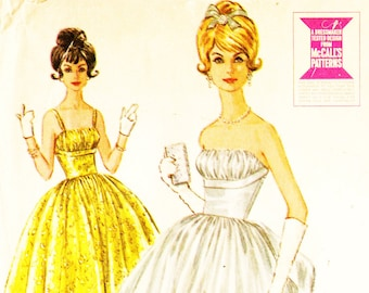 McCall's 6570  Evening Dress Sewing Pattern Vintage 1960s Shelf Bust Strapless Gown with Bustle Size 9