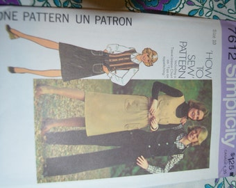 Vintage 70s SImplicity 7612 Misses Vest Skirt and Pants Sewing Pattern - UNCUT - Size 10 or Size 12