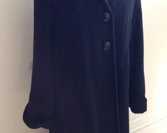 Fifties Vintage Black Wool Coat , Medium Size