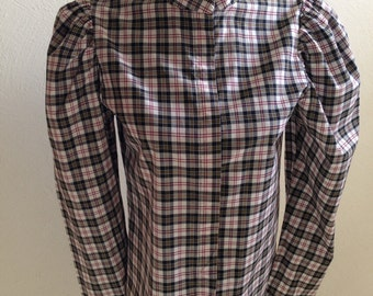 Plaid Blouse in Pure Cotton Handmade in the 70s, Bust 32 inches