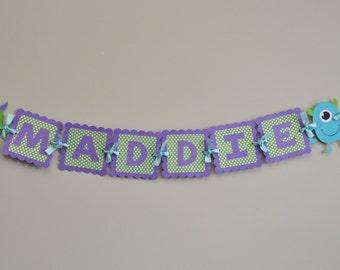 Girly Monster Bash Name Banner, Girly Monster Name Banner, Girly Monster Party Banner
