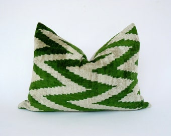 velvet ikat pillow case // green chevron pillow cover // green velvet cushion case