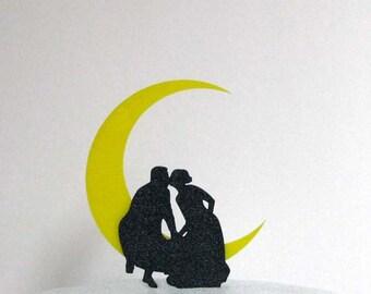 Wedding Cake Topper - Kissing on the Moon Wedding 2