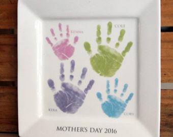 Family Handprint Ceramic Keepsake Platter_Great for Mother's Day, Grandparents, Father's Day