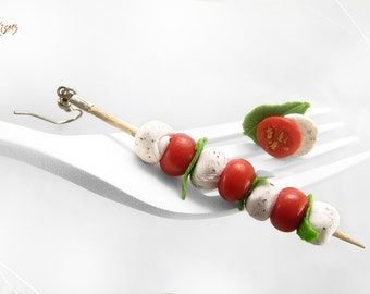 SALE - Caprese Salad Earrings, Mozzarella, Tomato & Basil skewer Earrings, Italian Mini Food Jewelry, Polymer Clay Food Miniature, Veggan gi