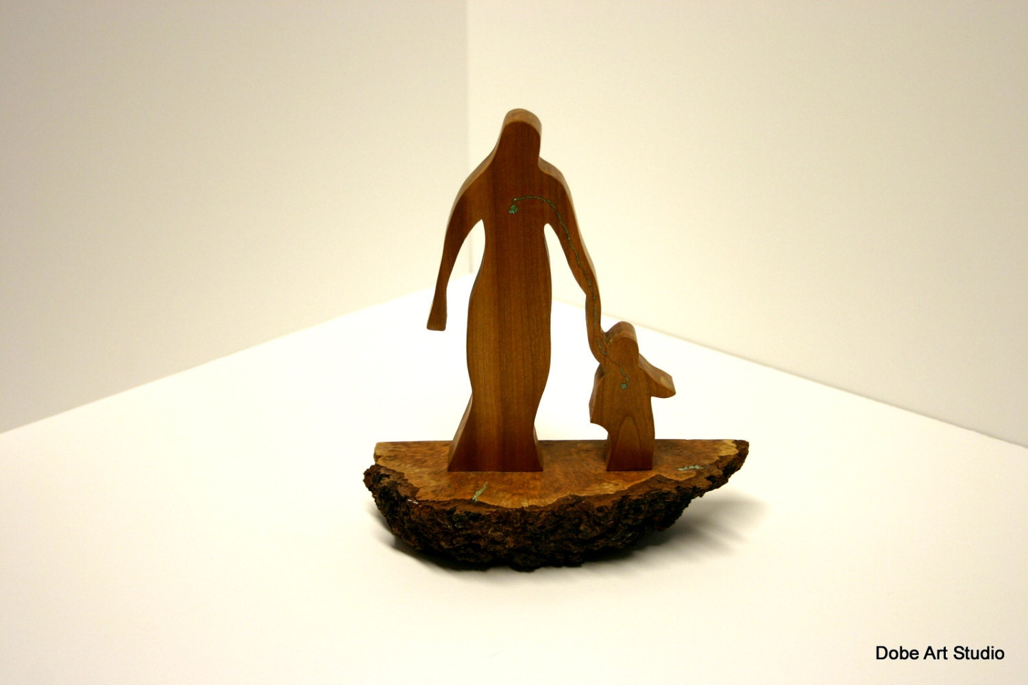 Mother and child abstract wood sculpture art deco modern - Statue deco moderne ...