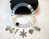 Silicone Bracelet, CLEAR, MEDIUM, w/ Charm, Fashion Jewelry!!!!