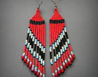 Red, black, blue and cream seed bead earrings - beadwork jewelry