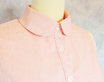 Blushing Dress - Peter Pan Collar Blush Pink Button Up Summer Sweet Day Dress
