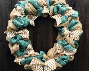 Burlap Wreath, Everyday Wreath, Chevron Wreath, Front Door Decor, Front Door Wreath