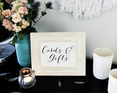4 x 6 and 5x7 Instant Download - CARDS and gifts sign- DIY, Wedding Ceremony, Guest Book Sign, Cards Box Sign Classic Wedding