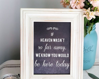 Instant Download - Chalkboard If Heaven Wasn't So Far Away I Know You'd Be Here Today - Modern Design DIY, Reception Sign Classic Wedding