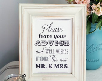 5x7, 4x6, 8x10 Instant Download Black White Guest Book Sign- Advice Well Wishes For Mr Mrs -Gift Table Sign, Please Sign our Guest Book