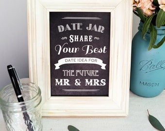 Instant Download Chalkboard Date Night Jar - Share Your Best Date Night Ideas for the Future Mr Mrs - Bridal Shower Sign - Wedding Sign