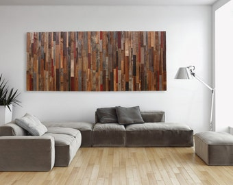 Large wood wall art made of old reclaimed barnwood, Different Sizes Available. Large wall art, wood wall sculpture