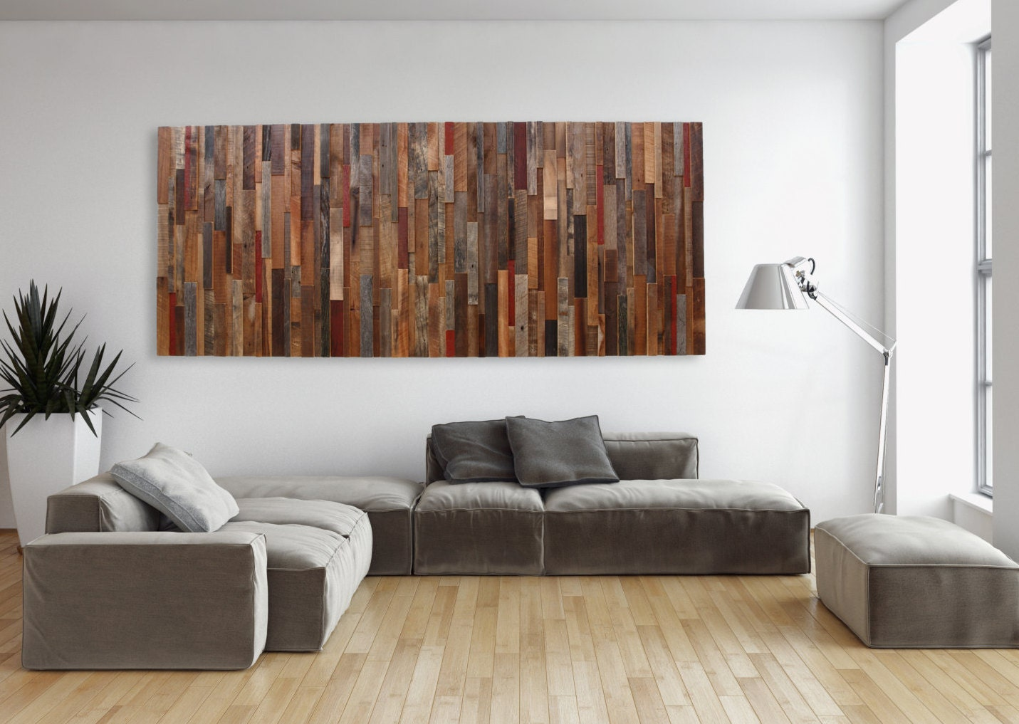 Large wood wall art made of old reclaimed barnwood different for Art wall decoration