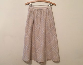 Cream Plaid Wool Skirt - 1980s