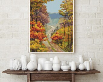 Counted Cross Stitch PATTERN  A Walk in the Countryside, Cross Stitch Chart PDF