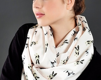 Boston Terrier Dog Pattern Infinity Scarf Dog Scarf Circle Scarf Scarves, Gift ideas for her Spring - Summer - Fall - Winter Scarf