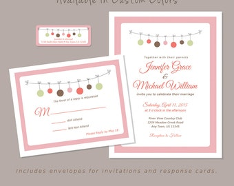 Wedding Invitations, Response Cards w/ both Envelopes & Labels, Custom Colors, Printed Set, Polka Dots - Pink Casual Inexpensive, Shower