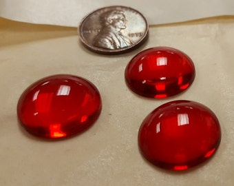 6 Vintage West German Glass Ruby 18mm. Smooth Round Cabochons 4496