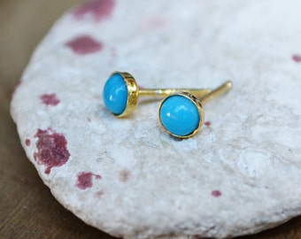 sleeping beauty turquoise stud earrings in 14k gold fill /// 4mm genuine arizona smooth turquoise studs /// december birthstone