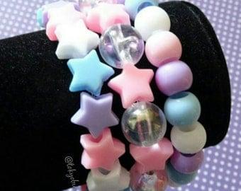 Pastel Rainbow Star Bracelets Set-Kawaii- Gothic- Pastel Goth- Gothic Lolita- Sweet Lolita-JFashion- Harajuku- Fairy Kei- Creepy Cute