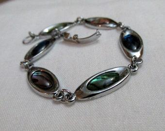 Striking Vintage Faux Paua Shell Silver Tone Link Bracelet