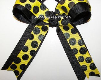 Softball Bow, Hornets Yellow Black  Bow, Sparkly Ribbon Ponytail Holder, Football Cheerleader Volleyball Soccer Cheer Bows, Cheap Bulk Sale