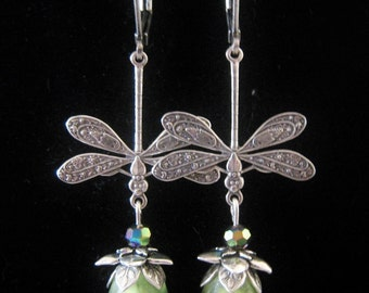 Art Nouveau Victorian Vintage Style Dragonfly Dangle Earrings Green Lucite Flower Rainbow Metallic Bead Lever Back