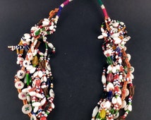 Rabari colorful glass beads necklace with copper amulet, old jewelry from Gujarat, tribal indian necklace, ethnic tribal  jewellery