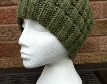 Slouchy Beanie - Hand Knitted Green Chunky Ribbed Slouchy Beanie Hat