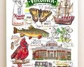 Virginia Print, illustration, State symbols, Old Dominion.