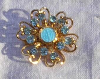 Mary, Madonna, Goddess Blue Stones Brooch