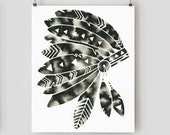 Geometric Headdress Print Modern Watercolor Native American Print Black and White Abstract Indian Art Minimal Artwork Minimalist Art Print