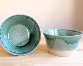 Two bowl set Ceramic bowl set Teal Dark turquoise stoneware bowls