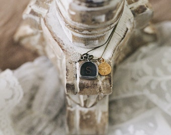 Vintage Typewriter Key Necklace with Swarovski Charm & Gold Compass (one letter)