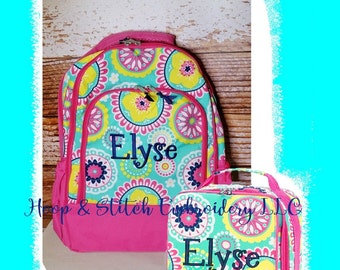 Piper Hot Pink and Navy Backpack Lunch Bag Combo with Monogram Back to School Girls Backpack, Piper Backpack, Navy Backpack, Floral