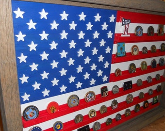 US Flag Coin Display, military challenge coin display, American Flag coin holder, Challenge coin display case