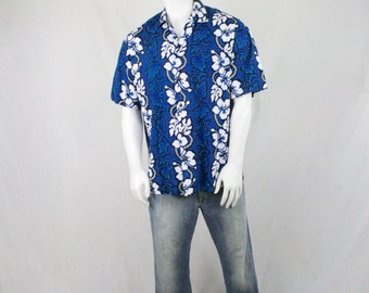 Vintage Blue with White Hibiscus Cotton Hawaiian Shirt by KY's Made in Hawaii