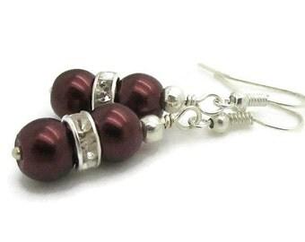 Chocolate Brown Pearl Drop Earrings, Truffle Bridesmaid Jewellery, Simple Pearl Dangles, Brown Wedding Sets, Bridesmaid Gift Idea, Handmade