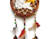 Dream catcher- Eagle dream catcher - wooden dream catcher - colorful dream catcher - wildlife dream catcher - unique dream catcher